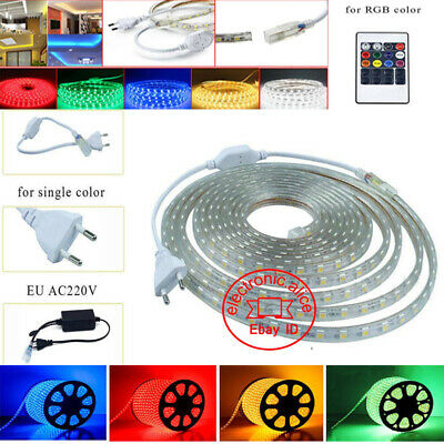 1m-20m Waterproof SMD 5050 LED Strip 220V 230V 60leds/m Flexible tape rope Light