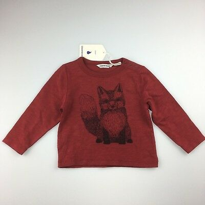 Boys size 0, Country Road, 100% cotton red long sleeve t-shirt, fox, NEW