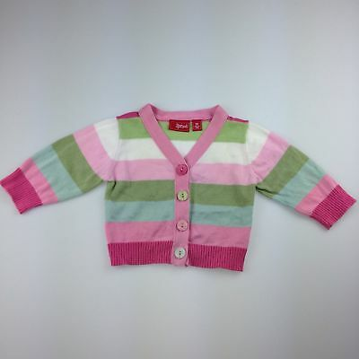 Girls size 00, Sprout, cotton knit striped cardigan, GUC