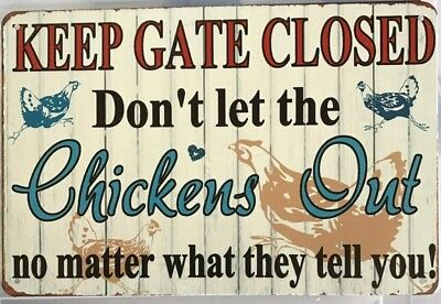 CHICKENS Rustic Look Vintage Tin Metal Sign Man Cave, Shed-Garage & Bar Sign