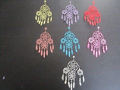 "fancy  DIE CUTS  7   DREAM CATCHER FANCY COLOURFUL  CARDSTOCK 4"" x 2"""