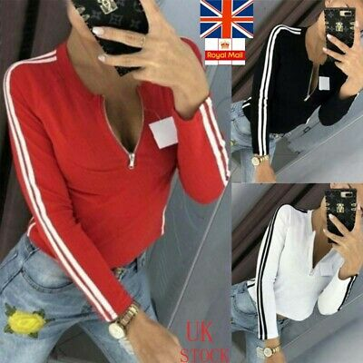 Womens Zip Up Shirt Ladies Long Sleeve Spory Gym Exercise Casual Blouse Crop Top