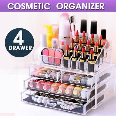 Cosmetic 4 Drawer Clear Acrylic Box Organizer Storage Jewellery Makeup Holder OZ