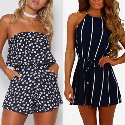 Womens Summer Holiday Mini Playsuits Beachwear Shorts Sundress Jumpsuits