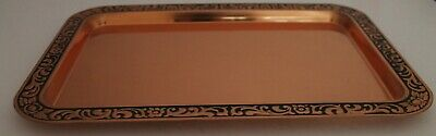 Copper Serving Tray Embossed Floral Black Lip Rectangle Gloss 32 x 22cm Vintage