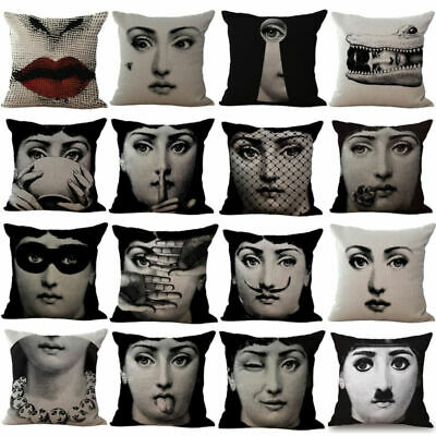 18'' Vintage Piero Fornasetti Face Cotton Linen Pillow Case Waist Cushion Cover
