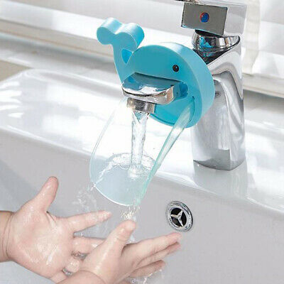Blue Animals Whale Faucet Extender Baby Tubs Kids Hand Washing Bathroom Sink LH