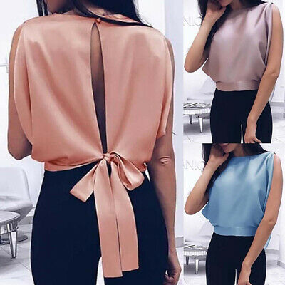 Ladies Summer Vest Backless Bat Casual Blouse Tops Club Bowknot Shirt N7