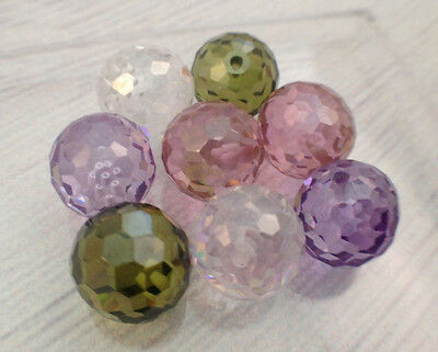 10MM Round Faceted CZ Beads White Pink Green Cubic Zirconia Half Drilled Hole
