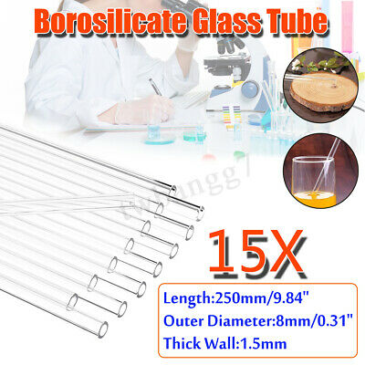 15Pcs 250mm OD 8mm 1.5mm Thick Wall Borosilicate Blow Glass Pyrex Blowing Tube