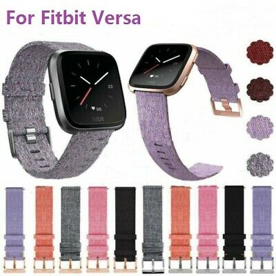 For Fitbit Versa Strap Replacement Woven Fabric With Rose Gold Buckle Watch Band
