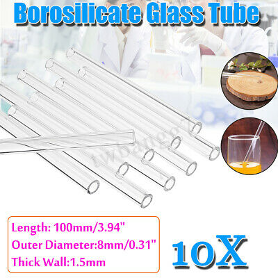 10Pcs 100mm OD 8mm 1.5mm Thick Wall Borosilicate Glass Blowing Tube Pyrex Tubing
