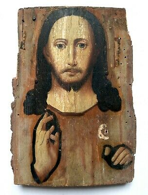 Antique Old Orthodox Icon Jesus Christ Russian Empire Hand Painted Board 18x12cm