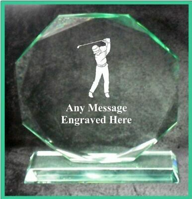 Glass Golf 18Cm Octagon Award Trophy Ga1002 Engraved Personalised