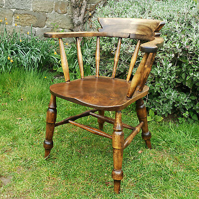 Vintage Elm & Beech Captains / Smokers Armchair Carver Early C20th (Antique)