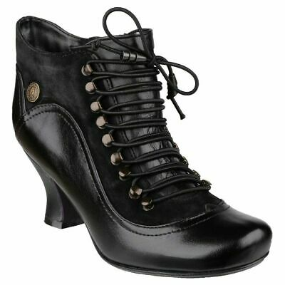 Hush Puppies Vivianna Womens Black Heeled Victorian Zip Up Ankle Boots