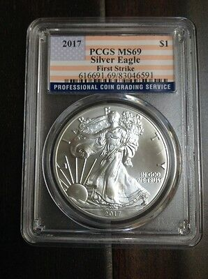 2017 $1 Silver Eagle PCGS MS69 - First Strike - Flag Label 1 oz. Ounce Coin
