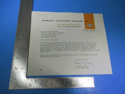 1961 Harley-Davidson Motor Co Letterhead NY State Dealers Schenectady NY M6239