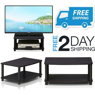SMALL TV STAND With Shelves Media Storage Table For Flat ...