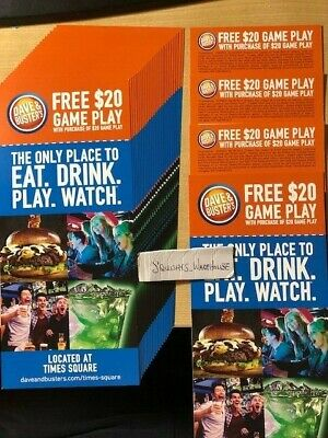 10 Dave And Busters $20 Gameplay With $20 Identical Purchase - Exp 6/30/19