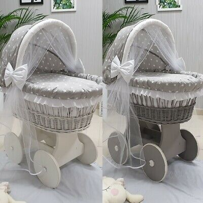 Wicker Moses Basket With Hood Tulle + Stand + Big Wheels & Grey Stars Bedding