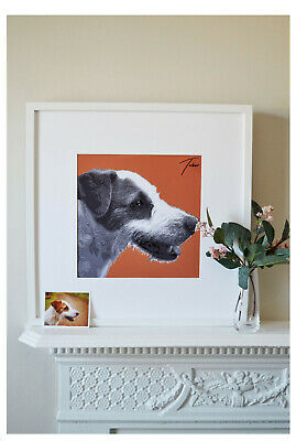 FRAMED Customised PORTRAIT of your pet. Size Square Large. ANY colour background