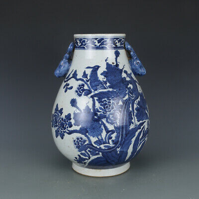 "12"" China antique Porcelain qianlong blue white painting flower deer head vase"