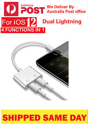 Apple  iPhone 7 8 X XS Max Plus Dual Lightning AUX Adapter Charge Earphone AU