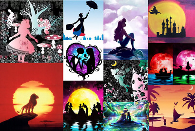 5D Diamond Painting Cross Stitch Disney Silhouette Character Cartoon Craft UK BN
