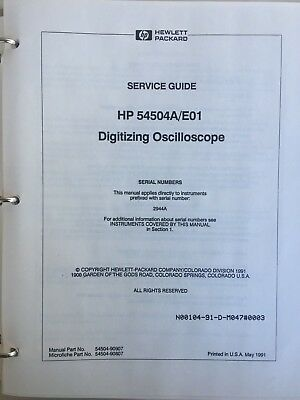 Hewlett Packard 54504A/e01 Digitizing Oscilloscope Service Guide