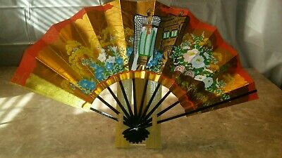 Vintage Japanese FoldingFan   Gold with Red plus Display Stand Box Instructions
