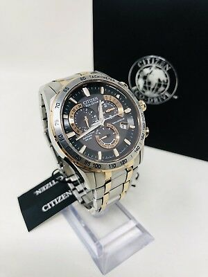 Citizen AT4109-54E Eco-Drive Men's 43mm Silver/Rose Tone Atomic Watch Pre-Owend
