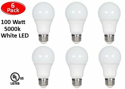 6 Pcs 100 Watt LED 5000K Daylight White Energy Saving 100W A19 11W Light Bulb UL