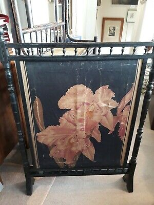Antique Victorian ebonised wood fire screen