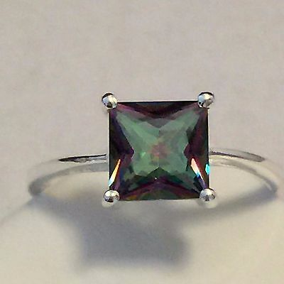 Princess Cut 2ct Mystic Topaz 925 Solid Sterling Solitaire Silver Ring  7.75