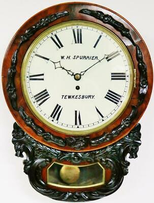Beautiful Antique English 8 Day Single Fusee Carved Walnut Drop Dial Wall Clock