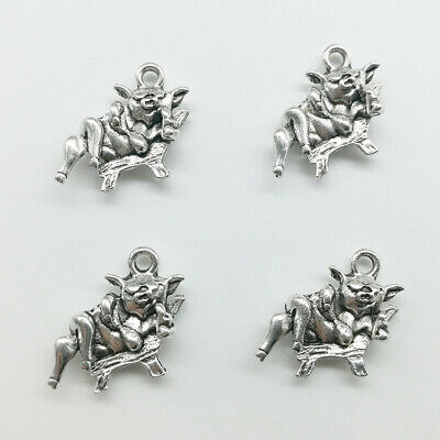 Wholesale pig animals tibet silver charms pendants DIY Jewelry Finding 15*15mm