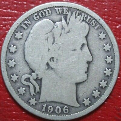 1906 Barber Half Dollar , VERY GOOD , 90% Silver US Coin