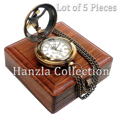 Lot of 5 Pieces Brass Sundial Clock Nautical Antique Pocket Watch With Wood Box