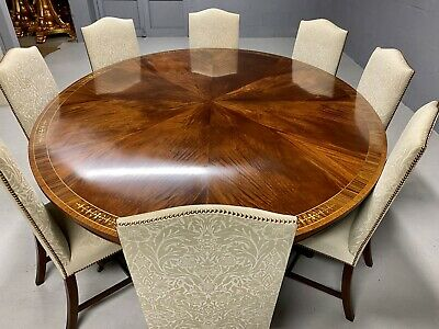 7.3ft Stunning Sunburst Flame mahogany Oval Grand dining table. French polished