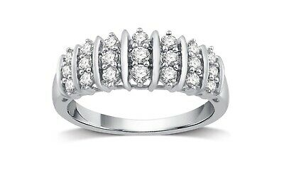 G-H,I2-I3 Size-8.25 Diamond Wedding Band in Sterling Silver 1//4 cttw,