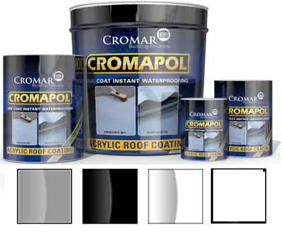 Cromapol Acrylic Roof Coat Roof Paint Sealant 1L to 20L Grey Black Clear White