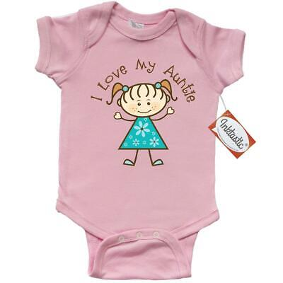 6039ae0f9 Inktastic I Love My Auntie Infant Creeper Aunt Niece Cute Stick Figure Girl  From