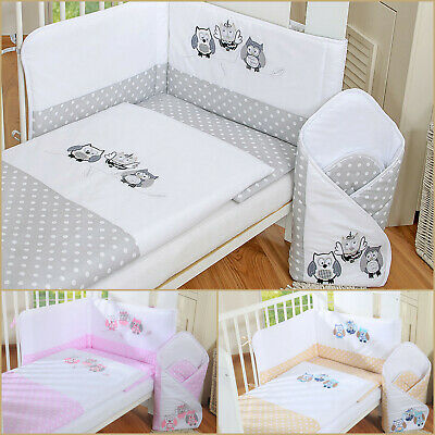LUXURY 3p BABY BEDDING SET/bumper/pillowcase/duvet cover 4 BABY COT/ COT BED OWL