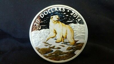 "2014 $20 Silver Coin ""Iconic Polar Bear"" & C.O.A."