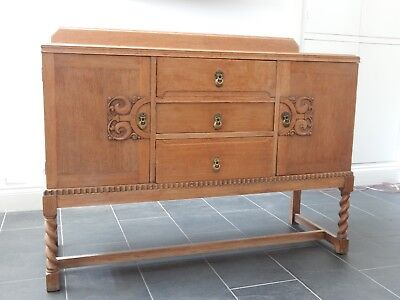 Refurbished Waxed Antique Solid Oak Carved Turned Legs Victorian Sideboard