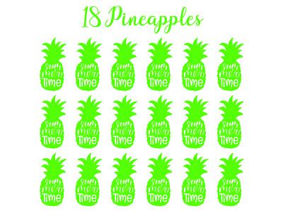 18 Pineapples Vinyl Decal Stickers Wine Glasses Boxes Frames Vases Summer Crafts
