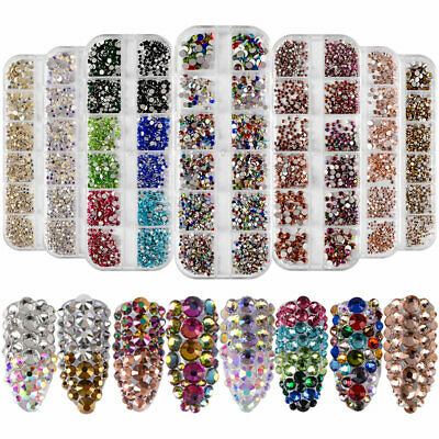 1Box AB Color Glass Nail Rhinestone Flat-back Crystal Gems Manicure Decor Tips