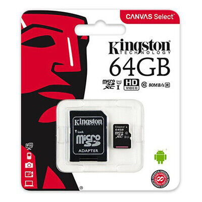 Kingston SDCS 64GB MicroSD Class10 SD Speicherkarte HD inkl. Adapter in Schwarz