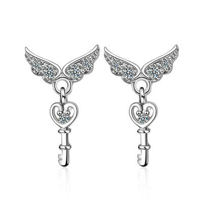 925 Sterling Silver Crystal Angel Wings Heart Key Stud Earrings Women Jewellery